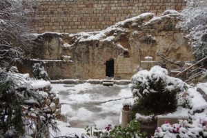 Snow on the Garden Tomb