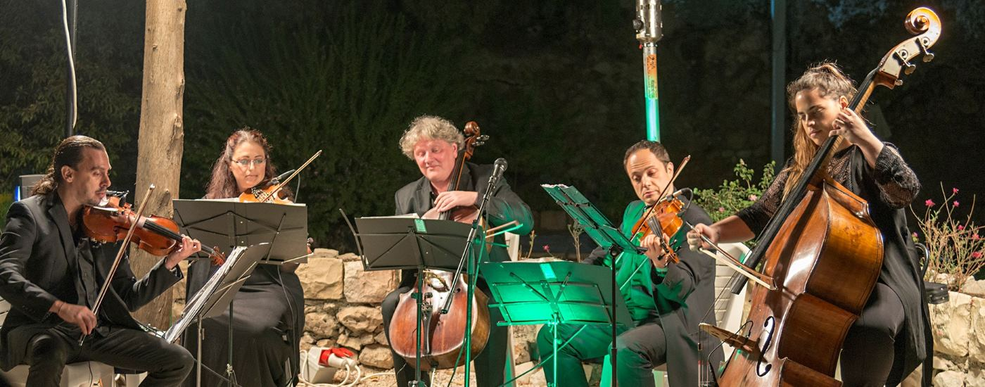 Quintet performing at Garden Tomb event